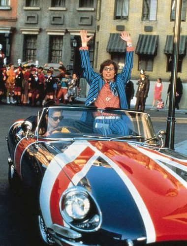Austin Powers in a classic Jaguar E-Type