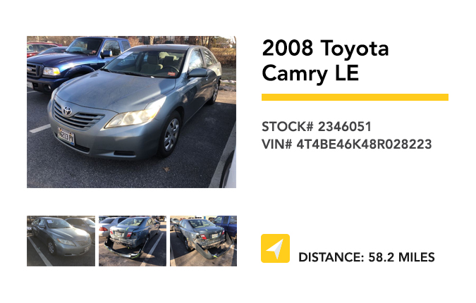 Recently Remarketed 2008 Toyota Camry LE