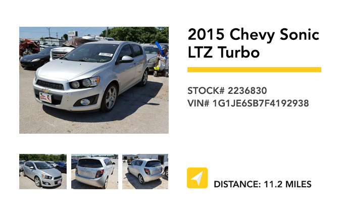 Recently Remarketed 2015 Chevy Sonic