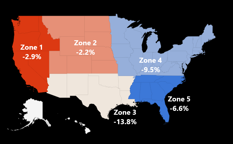 National Crushed Autobody Scrap Zone Pricing Map - February 2019 - Advanced Remarketing Services - Scrap steel prices fall nationwide